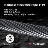 304 / 316 Stainless Steel Wire Rope 1 * 19 Structure AISI/GB Diameter 0.45mm-2.5mm Manufacturer Good Price for Crane