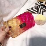 Wholesale Double Color Thread PVC Jelly Handbags Mini Glitter Mosaic Purse with Chain