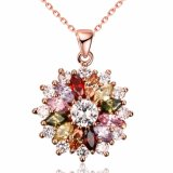 Foreign Trade Fashion Cascading of Flowers Colorful Zircon Charm Pendant Necklace