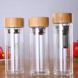Amazon Top Seller Eco Friendly Bamboo Lig Borosilicate Glass Water Bottle Double Wall