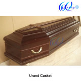 Wooden Crossed Metal Hardware Satin Interior Casket and Coffin