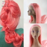 Wholesale 8A Remy Virgin Brazilian Human Hair Straight Full Lace Wig Color Pink