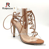 1046e4c432e PVC Transparent Perspex Lucite Sandal Lace Metal Ring Sandal Pointed Toe  Stiletto Sandal