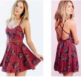 OEM Plus Size Flower Print Backless Ladies Chiffon Summer Dresses