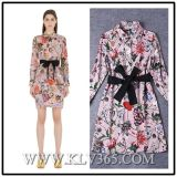 Long Sleeve Fashion Print Women Dress for Ladies