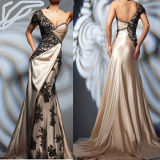 Evening Dress One Shoulder Sleeves Prom Dress Champagne Black Formal Gown Satin Lace Party Dress (E201516)