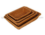 OEM Supermarket Home Plastic Rattan Bread Gift Fruit Basket
