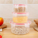 Microwaveable Food Grade Plastic Round Lunch Box Set of 3 PCS