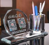 Wholesale Blank Glass Desk Holder Decoration Alipay and Wechat Check-out 2D Barcode Gift Cash Register Glass Craft Cashier Cheap 3D Qr Code Crystal