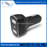 Dongguan Hot Selling 5V 5.4A Three Ports Phone USB Car Charger with LED Flashlight and Type C Connector for Car Use