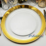 Kitchen Accessories Wholesale Cheap Wedding Decoration Simple Gold Glass Charger Plates