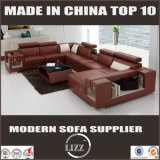 Genuine Leather Living Room Sofa with Coffee Table