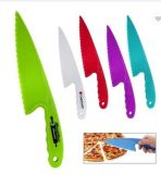 Promotional Simple Kitchen Chef Smart Cheap Custom Brand Logo Portable Colorful Plastic Handle Bread Cutter Serrated Pizza Knife