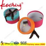 Custom Made Cardboard Round Tube PVC Window on Top Gift Box with Ribbon