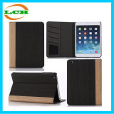 Card Slot Book Type Wood Grain Leather Case for iPad