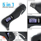 Multifunctional Digital Tire Pressure Gauge with LED Flashlight Car Window Breaker Seatbelt Cutter Red Safety Light