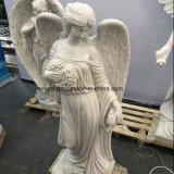 Modern Western Figure Statue, White Marble Stone Carved Garden Angel Sculpture with Weeping
