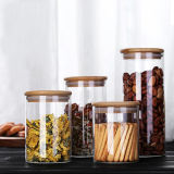 Wood Lid Glass Candy Jar Chocolate Jar Tea Jar
