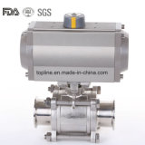 Pneumatic Ball Valve with Tri Clamp Ends and Aluminium Actuator