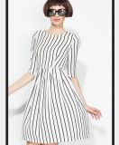 OEM Elegant Clothing Fashion Striped Ladies Dress