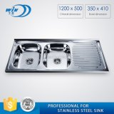 Stainless Steel Double Bowls Kitchen Sink with Drainboard in South America
