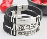 Stainless Steel Men Silver Jewelry Bracelet Leather Bracelet Fashion Bracelet
