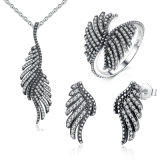 Phoenix Feather Wing 925 Sterling Silver Jewellery Set Necklace Earrings Ring Fashion S925 Jewelry Set
