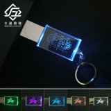 Custom Engrave Logo Crystal LED Light USB Flash Drive Stick 8GB 16GB 32GB 64GB with Keychain