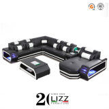 Functional Modern Leisure Home Living Room Furniture Genuine Leather Sectional Corner Sofa Set Wireless/USB Charging/Bluetooth Speaker/Cup Holder/Remote LED
