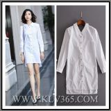 Designer Women Autumn White Cotton Long Sleeve Shirt Dress