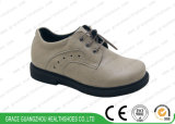 Grey/Apricot Student Leather Shoes Kids School Shoes Children Health Shoes