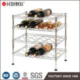 Metal 4 Tiers Adjustable Chrome Flat Wine Rack