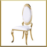 Wholesale Metal Stainless Steel Modern Gold Oval Back PU Leather Banquet Dining Chair for Church Event Wedding