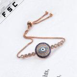 Wholesale Gold Jewelry Rhinestone Evil Eye Adjustable Magnetic Copper Bracelet