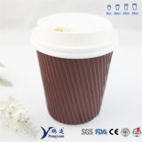 Disposable Ripple Walled Insulated Paper Coffee Cups for Hot Drinking