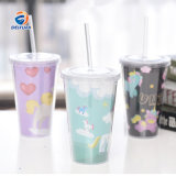 460ml 650ml Customized Reusable Eco Cheap Gift Plastic Double Wall Cup with Straw and Lid for Water
