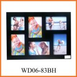 6 Opening Black Wooden Wall Hanging Collage Photo Frames (WD06-83BH)