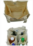 6 Grid Cotton Bottle Bag for Promotion or Shopping