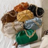 2020 New Underarm Cloud Bags Fold Soft Leather Thick Chain Female All-Match Shoulder Crossbody Handbags