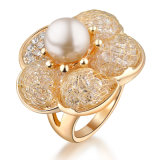 Fashion Jewelry with Pearl 18K Gold Color Ring for Women