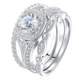 Engagement Ring 925 Sterling Silver with 3 CZ Couple Ring