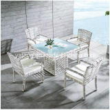 2016 New Design White Rattan Table Set with 4 Chairs 4 People
