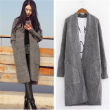 New Women′s Long Fleece Loose Casual Sweater Knitted Cardigan (50248)