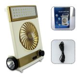 Solar Fan Rechageable Portable Cooler Camping Lamp with Solar Panel LED Lights