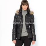 Ladies MID-Length Down-Filled Jacket with Detachable Hood