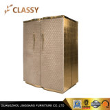 Luxury Interior Furniture Polished Golden Metal Cabinet with Leather Doors