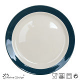 White Color with Wide Blue Rim Hand Painting Dinner Plate