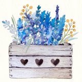 Handmade Oil Painting of Lavender with a Wooden Basket Design