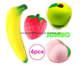 Squishies Slow Rising Jumbo Fruit - Prime 4 Pack Kawaii Squishy Toys Package Strawberry Peach Banana Apple Giant Scented Fruit Pack Cute Squishys Super Soft Str
