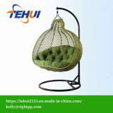 Th17053 Modern Leisure Wicker Patio Outdoor Home Office Hotel Dia5.0mm Wicker Swing Hanging Chair Green